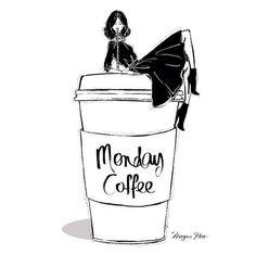 Monday coffee by Megan Hess Illustration Coffee Girl, I Love Coffee, Coffee Talk, Coffee Break, Megan Hess Illustration, Spotted Wallpaper, Kerrie Hess, Monday Coffee, Coffee Today