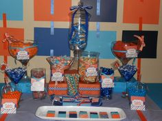 Blue and Orange Candy Buffet by The Gala Gal Cleveland. Orange Candy Buffet, Sports Day, Bread Board, Cleveland, Summer, Blue, Wedding, Painting, Valentines Day Weddings