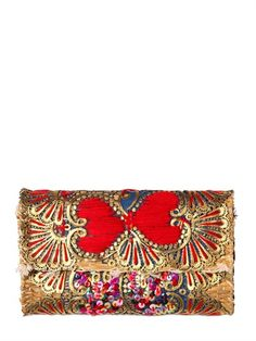 LAURENCE HELLER - EMBROIDERED SEQUINS COTTON STRAW CLUTCH - LUISAVIAROMA - LUXURY SHOPPING WORLDWIDE SHIPPING - FLORENCE