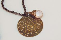 Pink Necklace Glass Natural Brass embossed and by JillianDesigns4u, $29.00