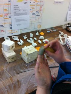 Nicolle George, student at UCA Rochester Contemporary Jewellery, slip-casting in clay.