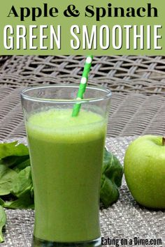 You'll love this easy and healthy green smoothie recipe. This Apple Spinach Green Smoothie recipe is easy to make and packed with nutrients and flavor. This fat burning smoothie is perfect for breakfast during a detox or to help you loss weight. This is one of my favorite healthy green smoothie recipes that taste good and great for energy. I hope you try this recipe during your next cleanse and it's great for kids too! #eatingonadime #smoothierecipes #greensmoothies