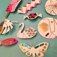 Brooches made with #WaverlyInspirations wallpaper.