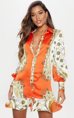 841b6e3a3c45 Orange Chain Print Frill Hem Shirt DressAdd prints to your date night  wardrobe with this dress