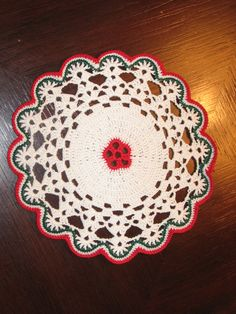 Christmas Doily Small Floral Center Doily Hand Crocheted 6 inch Doily - pinned by pin4etsy.com #EtsyGifts