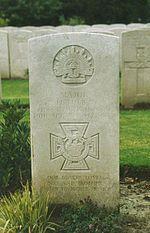 Major Frederick H. Tubb's gravestone in Lijssenthoek Military Cemetery, Poperinghe, Belgium. Plot XIX. C.5.