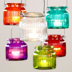 Hanging Glass Tealight Jars, Set of 6 from Cost Plus World Market. Saved to decorate. Hanging Tea Lights, Hanging Jars, Hanging Lanterns, 6 Candles, Candle Jars, Glass Jars, Jar Lights, World Market, Do It Yourself Home