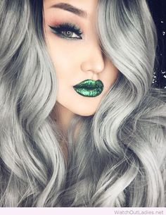 Grey hair color, green lips and eyes