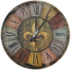 Lulu Decor, Vintage French Country Style Rustic Round Wood Wall Clock with Fleur De Lis in Middle, Large Roman Numerals, Clock Diameter Perfect for Housewarming Gift (Vintage) Large Metal Wall Clock, Metal Wall Art Decor, Home Wall Art, Wood Wall, Antique Wall Clocks, Farmhouse Wall Clocks, Wood Clocks, Vintage Clocks, Vintage Decor