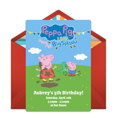 Customizable, free Peppa Pig Live online invitations. Easy to personalize and send for a party. #punchbowl