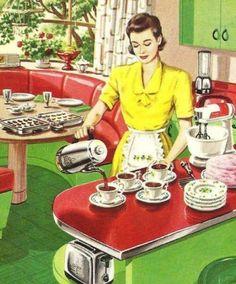 Vintage retro wife in kitchen Images Vintage, Photo Vintage, Vintage Love, Vintage Pictures, Vintage Coffee, Retro Images, Vintage Green, Pin Up, Vintage Advertisements