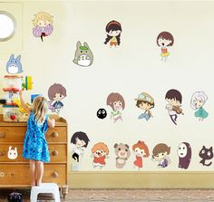 Amazon.com: Fange DIY Removable Spirited Away and My Neighbor Totoro Art Mural Vinyl Waterproof Wall Stickers Kids Room Decor Nursery Decal Sticker Wallpaper 35.4''x23.6'': Home & Kitchen