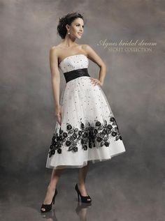 50's style black and white floral and swiss dot tea length wedding dress £995