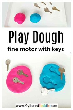 Fine Motor with Keys in Play Dough - a fun fine motor activity idea for toddlers and preschoolers - indoor fun for toddlers Toddler Fine Motor Activities, Toddler Sensory Bins, Indoor Activities For Kids, Toddler Fun, Infant Activities, Toddler Preschool, Toddler Crafts, Preschool Plans, Toddler Learning