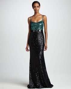 Sequined Colorblock Tank Gown by Badgley Mischka