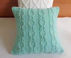 Custom knit decorative pillow aqua, teal throw cable knit pillow cover, hand knit pillow case, couch pillow, 16x16 knit cushion cover