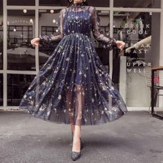 Navy/Beige Starry Layered Tulle Long Dress, Shop plus-sized prom dresses for curvy figures and plus-size party dresses. Ball gowns for prom in plus sizes and short plus-sized prom dresses for Pretty Outfits, Pretty Dresses, Beautiful Dresses, Beautiful Gorgeous, Prom Dresses, Formal Dresses, Wedding Dresses, Wedding Shoes, Beige Long Dresses