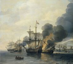 Battle of Leghorn - Wikipedia Anglo Dutch Wars, Golden Age Of Piracy, The Last Ship, John Wood, Art Uk, Tall Ships, Oil Painting On Canvas, Painted Canvas, Hand Painted