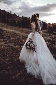 Boho Wedding DressLong Sleeves Appliques Lace A Line Tulle Bride Dresses Princess Wedding Gown Bodice Wedding Dress, Long Sleeve Wedding Dress Boho, Applique Wedding Dress, Long Wedding Dresses, Bridal Dresses, Wedding Gowns, Lace Applique, Maxi Dresses, Summer Dresses