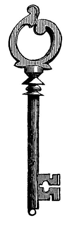 Vintage Clip Art - Skeleton Keys - Skull--The Graphics Fairy