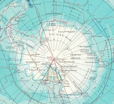 1950s Antarctica Vintage Map.