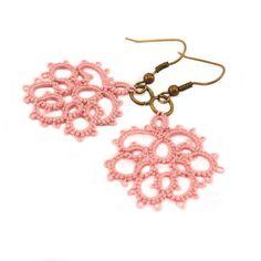 Delicate lace earrings  in dusty rose pink