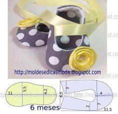 Passo a passo do molde de sapatinho para facilitar o corte e costura.