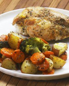 One-Pan Chicken And Veggies; use cauliflower instead of potatoes