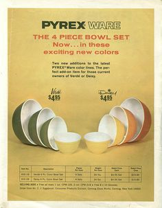 Vintage ad for Verde and Daisy Pyrex bowls
