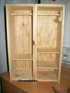 Clothes Cabinet, Doll Closet, Dog Crafts, General Crafts, Barbie House, Baby Decor, Ideas Para, Armoire, Furniture