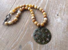 African Pendant Gemstone Necklace Tribal por simplepleasurestx