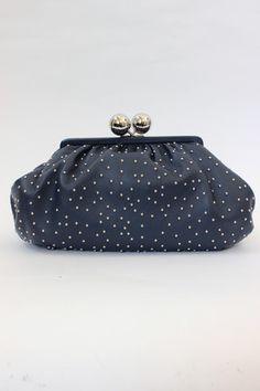 Tiffany 'Vivian' Navy Studded Leather Clutch | juneresale.com