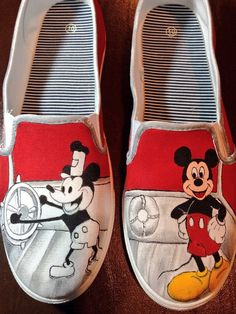 Custom Hand Painted Shoes--Mickey Mouse by FancyFeetArt on Etsy