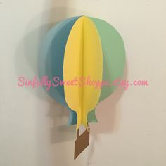 """Fly Up High"" 3-D Hot Air Balloon paper hanging décor (also comes in wall décor/ wall decal)."