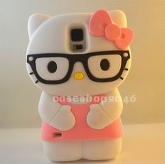 newest 3D glasses Hello Kitty silicone soft cover case for Samsung Galaxy S5 SV #RLH