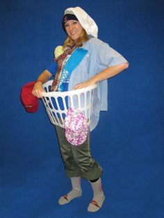 Pin pieces of clothing to yourself, grab a laundry basket and go as dirty laun