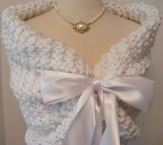 Wedding Shawl / Bridal Bolero / Shrug / White by ElegantKnitting, $120.00