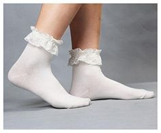 Fashion Lace Socks Women Princess Vintage Cute Girl Ruffle Frilly Ankle Socks EF ColorLight Yellow * More info could be found at the image url.