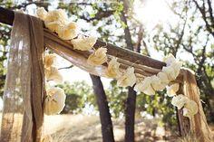 Natalie and Nathaniel's At-Home DIY Wedding | Photo by: Sarah Kathleen #altar #rustic #burlap