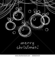 Vector Christmas doodle background. Christmas balls in hand drawn childish sketch style. Invitation, greeting decorative card. Abstract linear black and white illustration on chalkboard with text box - stock vector