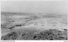 View of the Jordan Valley from Jerusalem Road in the Judean Hills. A camp of the Australian Mounted Divisional Train R Station is in the centre and Jericho is to the left. Ottoman Empire: Palestine, c 1918 Ottoman Empire, Palestine, Jerusalem, Egypt, Centre, Military, Camping, Horses, Train