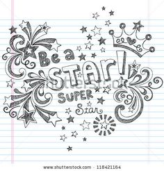 Princess Tiara Crown Vector- Be A Star Back to School Sketchy Notebook Doodles- Vector Illustration Design Elements on Lined Sketchbook Pape...