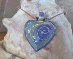 """Pendant Oil Bottle """"starry night"""" porcelain, glazed $70 (sold)"""