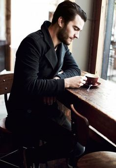 """From the blog, """"boys life"""": black peacoat, white tee, denim. Casual coffee style."""