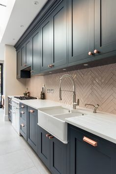 Navy blue shaker style farmhouse kitchen with marble worktops, pink metro herrin. - Navy blue shaker style farmhouse kitchen with marble worktops, pink metro herringbone style tiles a - Open Plan Kitchen Diner, Open Plan Kitchen Living Room, Kitchen Dining Living, Kitchen Room Design, Modern Kitchen Design, Home Decor Kitchen, Interior Design Kitchen, Home Kitchens, L Shape Kitchen