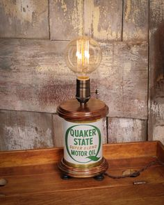 Quaker State Oil Can Edison Lamp by TreeBudsWood on Etsy