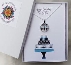 We now have our cards in a 5 x 7 cotton filled box with our LOGO on top so it is ready to give as a gift.  Say Happy Birthday in a really unique and meaningful way. Birthday Box, Birthday Wishes, Birthday Cards, Happy Birthday Greeting Card, Matching Necklaces, Logo, Unique, Cotton, Gifts