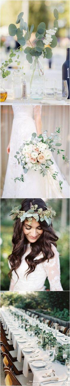 Eucalyptus green wedding color ideas / www.wedding timing of day;wedding timing line; Wedding Centerpieces, Wedding Table, Wedding Bouquets, Rustic Wedding, Our Wedding, Wedding Decorations, Simple Centerpieces, Green Wedding, Floral Wedding