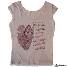 Womens Anatomical HEART Scoop Neck Tee  - american apparel T Shirt S M L XL (5 Color Options)