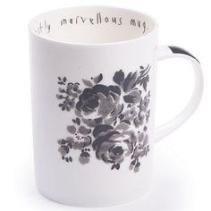 modestly marvellous mug, hankie flower charcoal